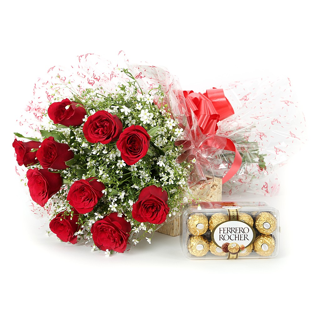 Roses with a box of chocolates