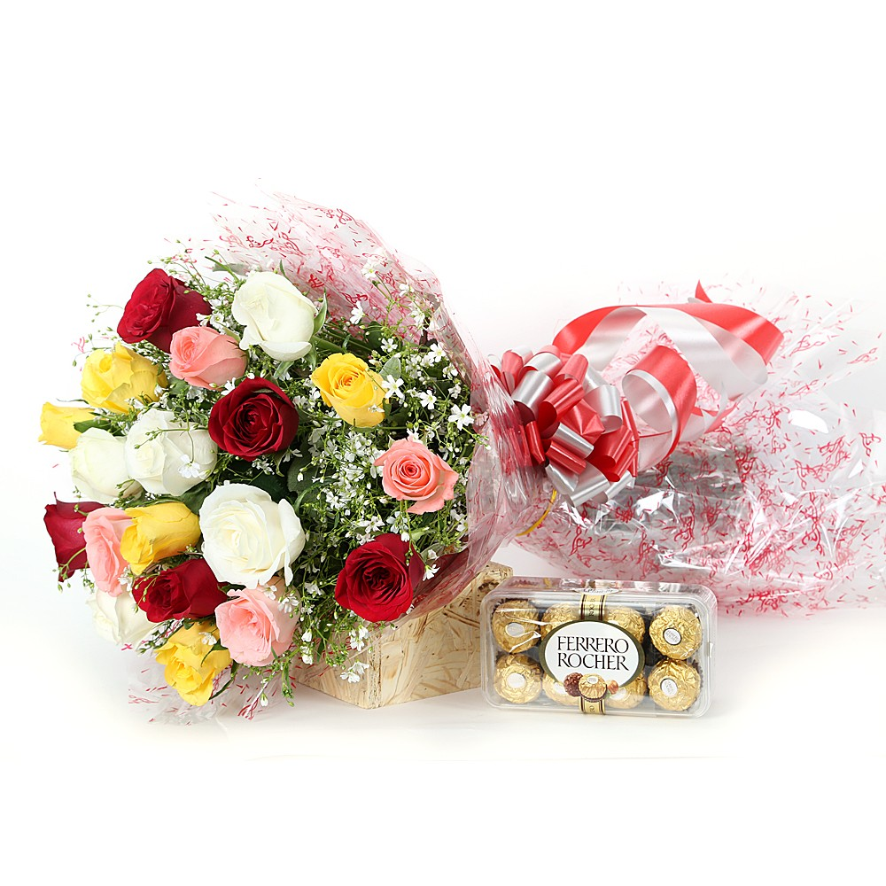 Colourful roses with chocolates