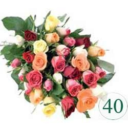Bunch of 40 mix color roses.