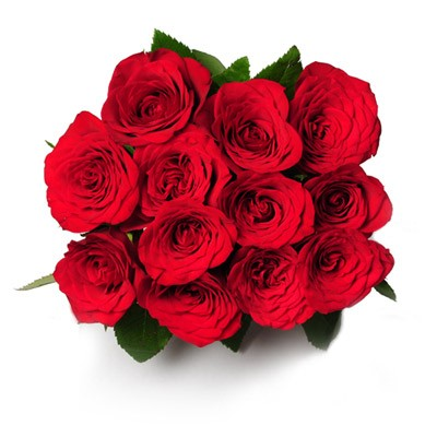 Bunch of 12 red roses with green fillers.