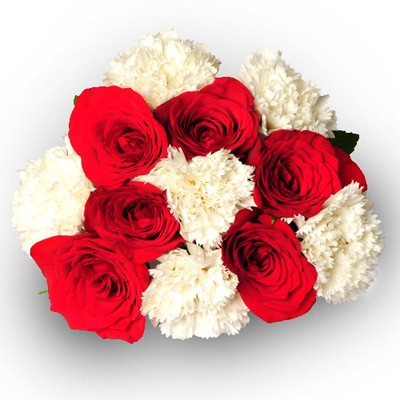 Set of red roses with white carnations.