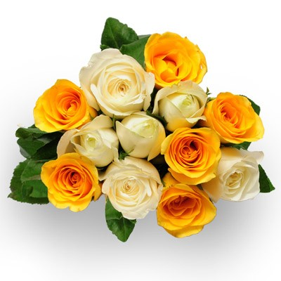 Bunch of white and yellow roses.