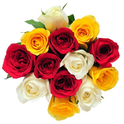 Bunch of red, yellow and white roses.