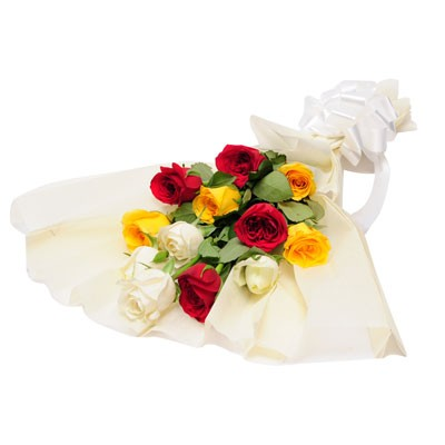 Mixed bunch of 4 red, yellow and white roses