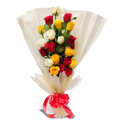 Bunch of 7 yellow, 5 white and 9 red roses