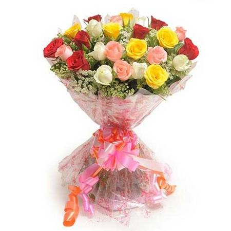 Mixed colour bunch of 25 roses.