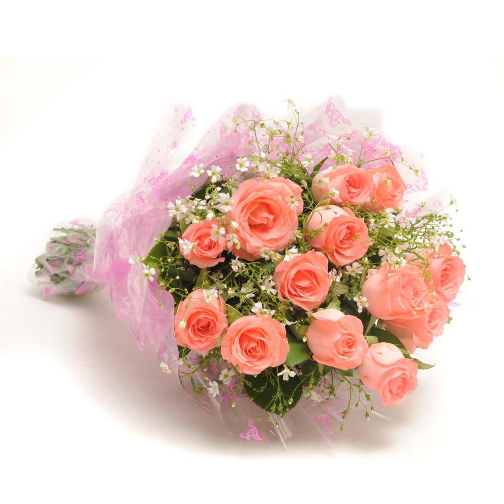 Bunch of 12 baby pink roses with fillers.