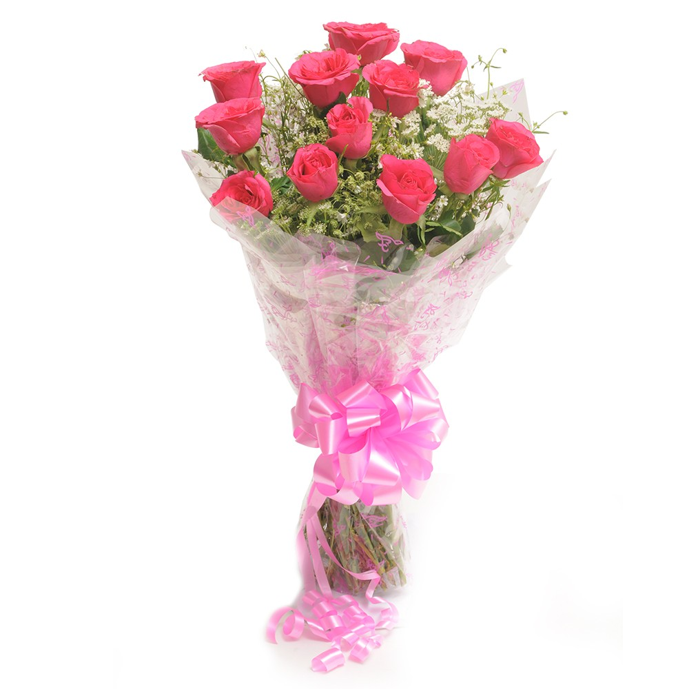 Bunch of 12 dark pink roses with pink ribbon bow.