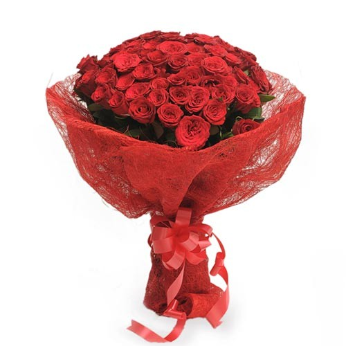 Bunch of 50 gorgeous red roses packed in red jute paper.
