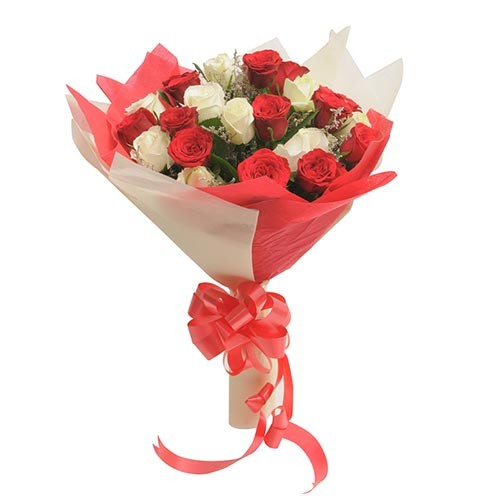 Bunch of 24 red and white roses with fillers.