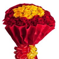 Exquisite  bunch of 50 red and yellow roses.