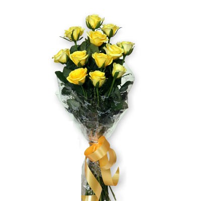 Cheerful bunch of 12 yellow roses.