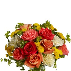 Colourful bunch of roses and carnations.