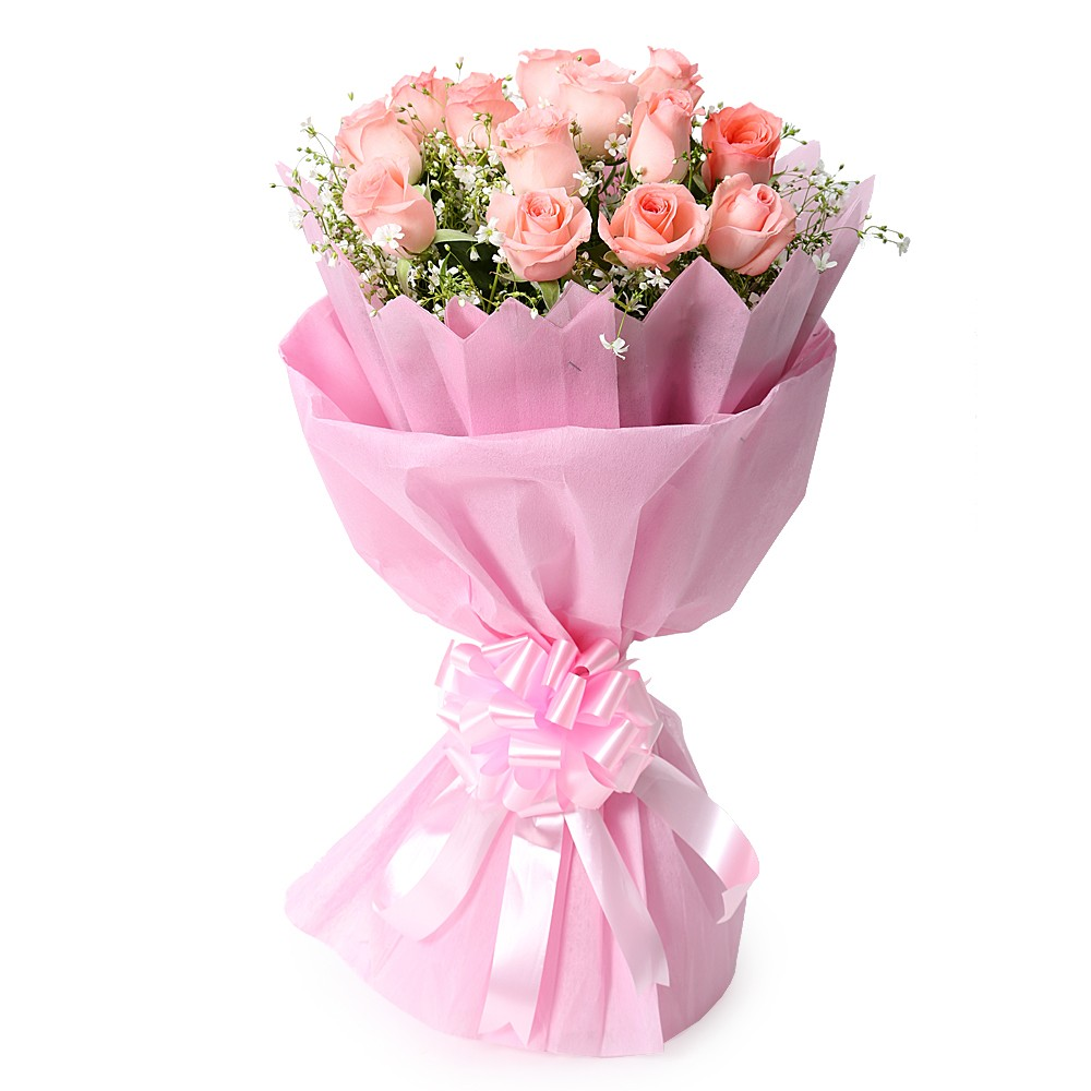 Enchanting bunch of pink roses
