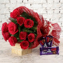 10 Red roses with Dairy Milk chocolates