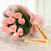 10 pink roses with 2 Toblerone bars
