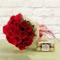20 red Roses with a box of Ferrero Rocher chocolates