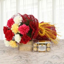 10 mix colour Carnations with a box of Ferrero Rocher Chocolates