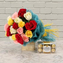 20 mix colour roses with a box of Ferrero Rocher chocolates