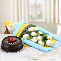 10 White roses with a Chocolate Truffle cake combo