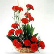Basket arrangement of 15 red carnations