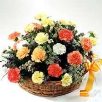 25 colorful carnations arranged in a cane basket