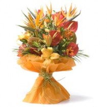 Bunch of red anthuriums, orange lilies & birds of paradise.