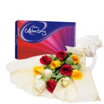 12 mix colour roses with a cadbury celebration chocolates