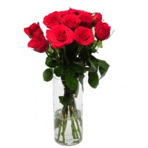 A dozen red roses arranged in a glass vase.