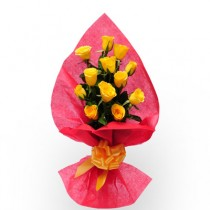 Bunch of 12 yellow roses wrapped in red paper.
