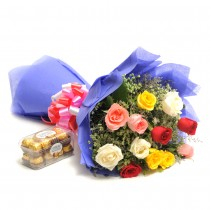 Bunch of 12 long stem Mix colour roses with a box of Ferrero rocher chocolates