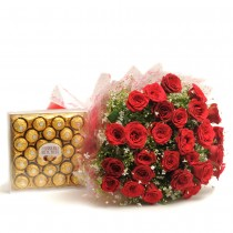 30 red roses and a box of Ferrero Rochers.
