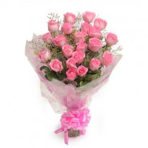 25 pretty pink roses tied in bunch with fillers.