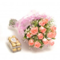 Bunch of 12 pink roses with a box of Ferrero rocher chocolates