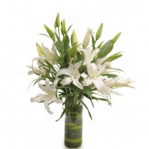 6 chic white asiatic lilies in a glass vase with green fillers.
