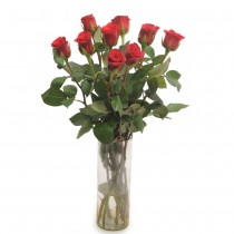 10 vibrant red roses in a glass vase.