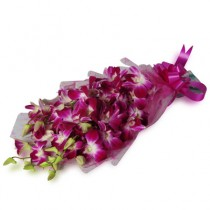Charming bunch of 10 purple orchids