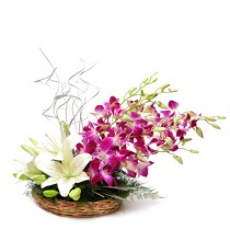 Purple Orchids and white lilies in a basket