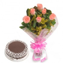 Bunch of 6 pink roses with a 1/2 kg chocolate cake.