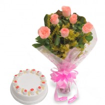 Bunch of pink roses with pineapple cake.