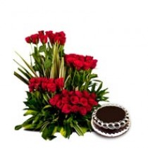 50 long stem red roses with a 1kg chocolate cake.