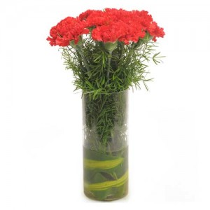 10 fabulous red carnations in a glass vase.